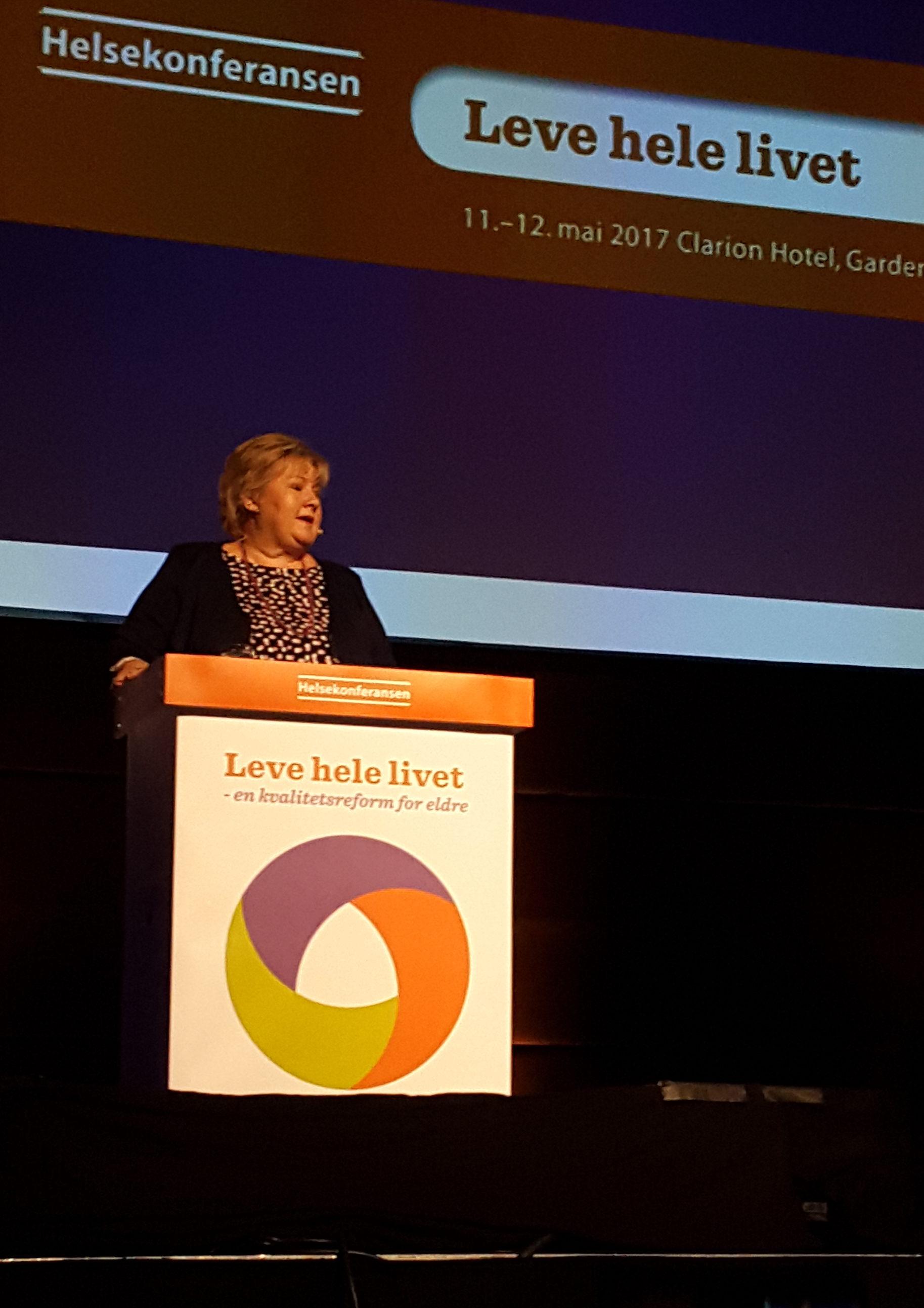 Statsminister Erna Solberg holdt innlegg på dag 2
