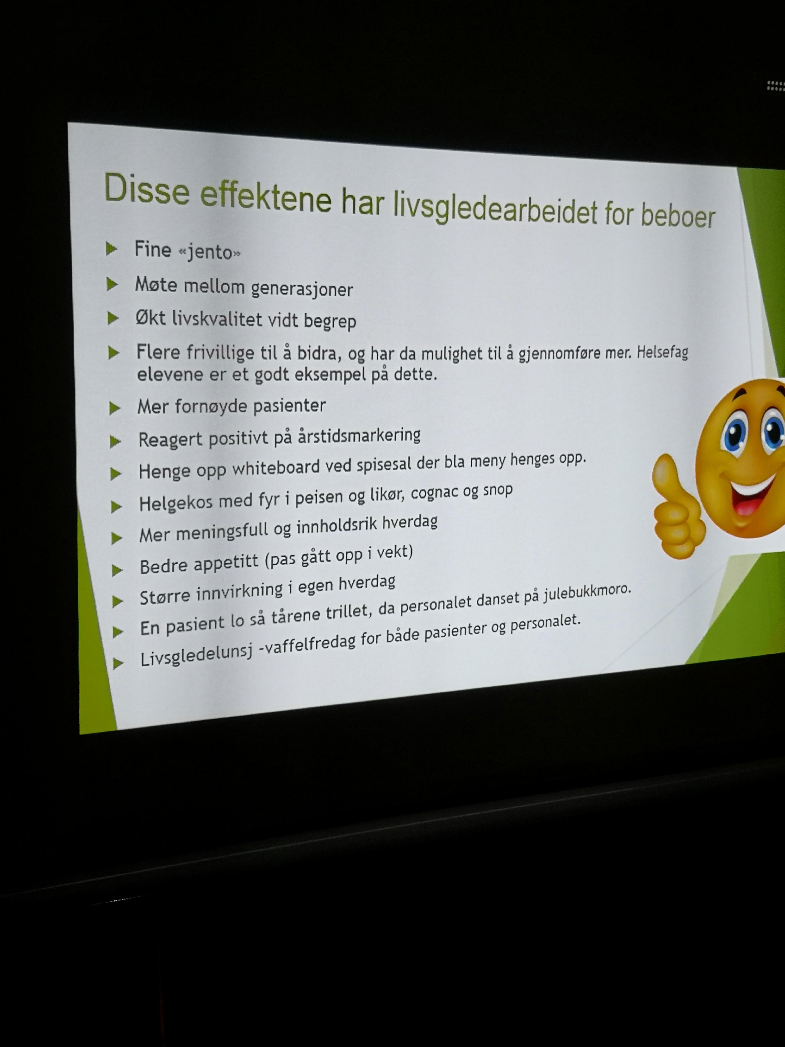 Utdrag fra presentasjonen til livsgledegruppa ved sertifisering