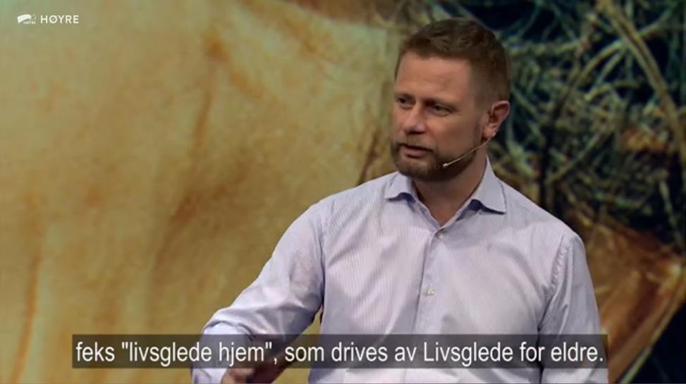 Helseminister Bent Høie anbefaler Livsglede for Eldre
