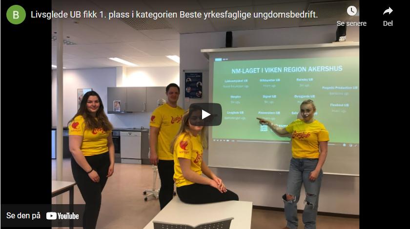 Vi gratulerer Livsglede UB ved Bjørkelangen videregående skole med plassering i NM for ungdomsbedrifter!