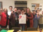 En glad og fornøyd livsgledegruppe ved Halsa sykehjem etter vellykket sertifiseringsdag.